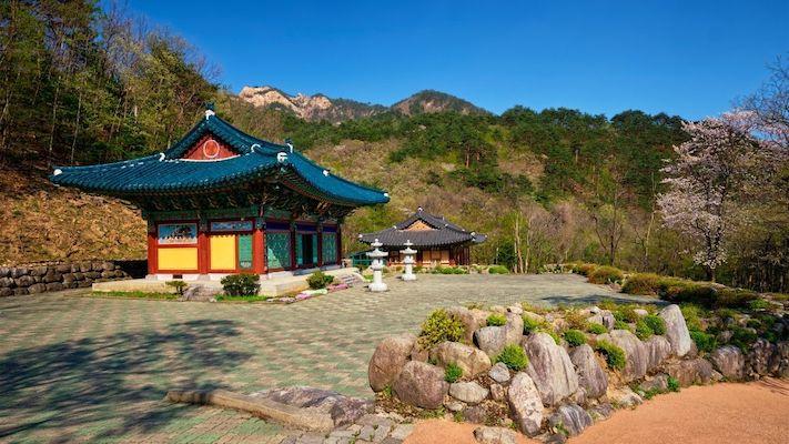 Sinheungsa Temple in Autumn in South Korea
