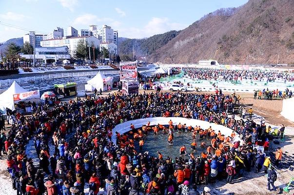 barehand ice fishing Hwacheon Sancheoneo Ice Festival
