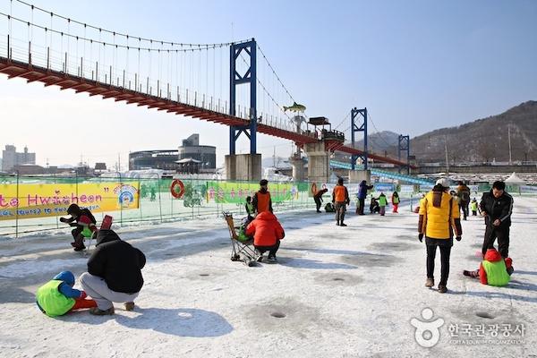 Hwacheon Sancheoneo Ice Festival ice fishing