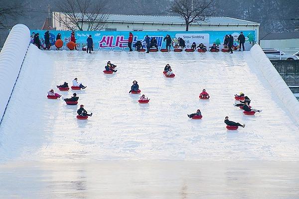 sledding at Hwacheon Sancheoneo Ice Festival